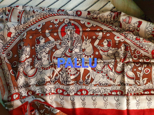 Kalamkari Silk Cotton Saree with design Pallu