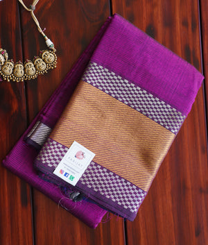 Purple Mangalgiri Silk Cotton Saree PC1179-Silk Cotton Sarees-Parijat Collections