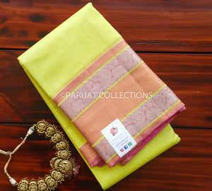 Lemony Yellow Mangalgiri Silk Cotton Saree with silver Kanchi border PC1176-Silk Cotton Sarees-Parijat Collections