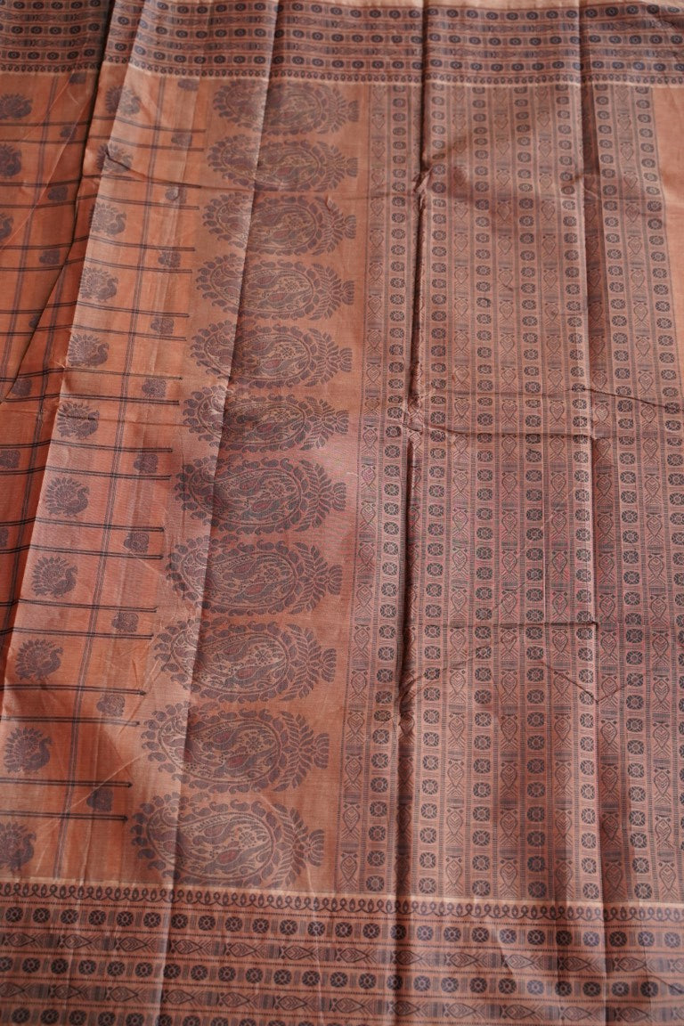 Rust Brown Soft Cotton Saree with Border PC1462