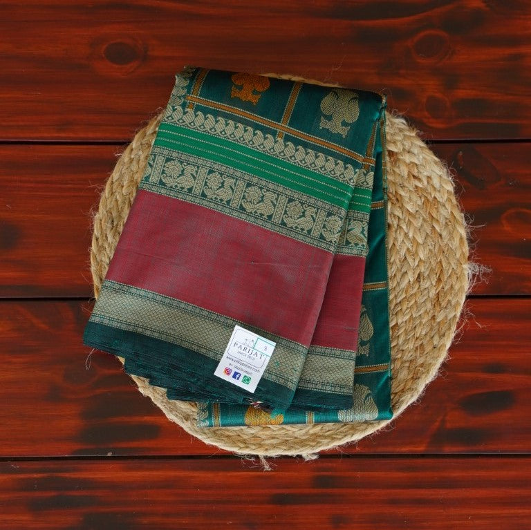 Peach Begumpuri handloom Cotton Saree PC818