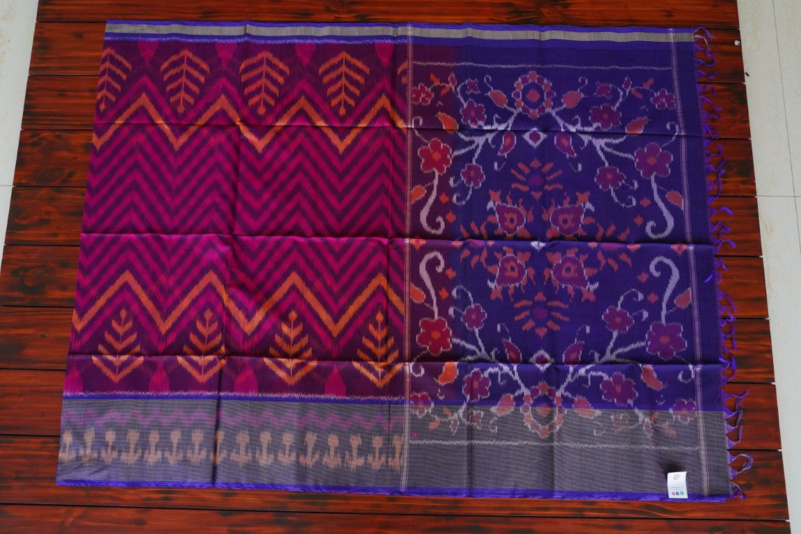 Purple Ikat Handloom Silk Cotton Saree PC1504