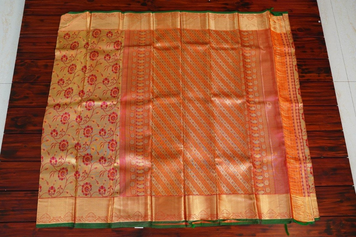 Bright Gold & Pink Bridal Silk Saree with Grand Pink Zari Pallu PC897