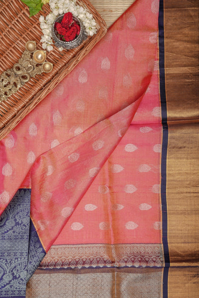 Pink Tissuekanchi Silk Cotton Saree with Blue Pallu & Korvai Zari big Border KMS205