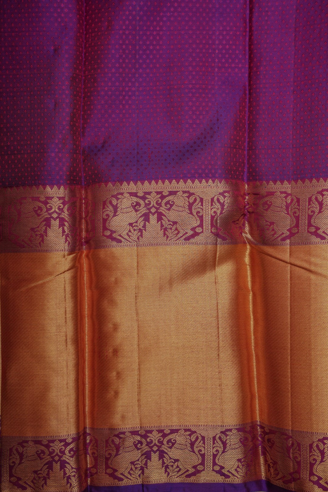Orange Jacquard Silk Saree with Violet Rich Pallu PC878