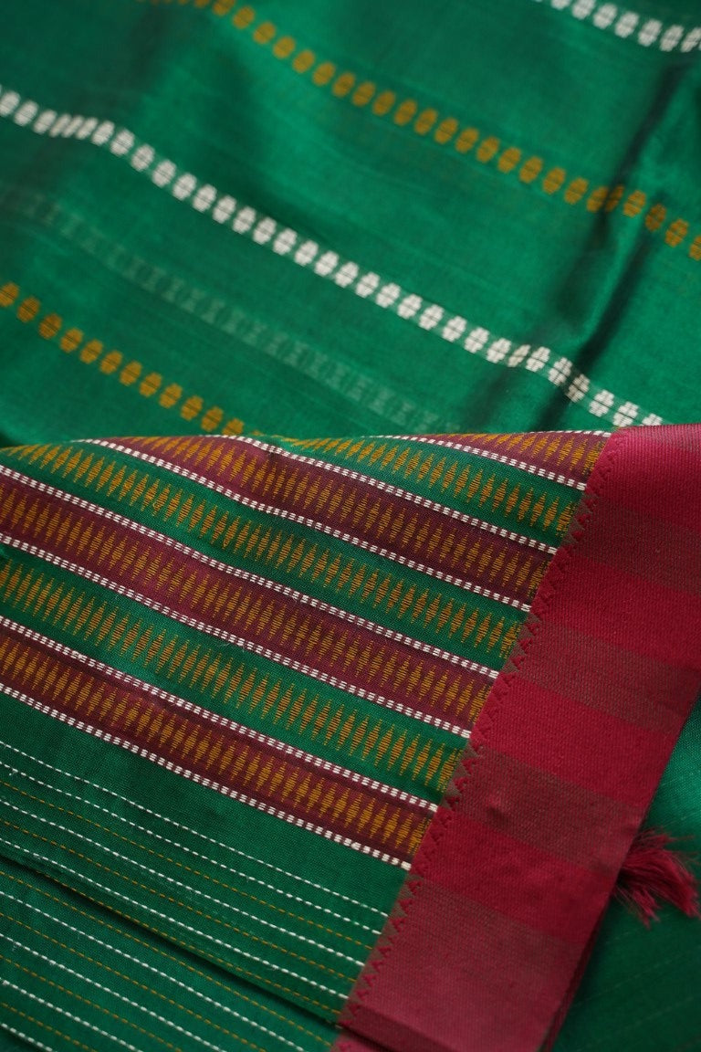 Dark Green Kanchi Silk Cotton Saree with thread work PC2315-Silk Cotton Sarees-Parijat Collections