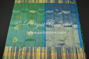 Turquoise Chandbali Butta Jacquard Silk Saree with Blue Pallu & Bavanchi Design Border - Parijat Collections