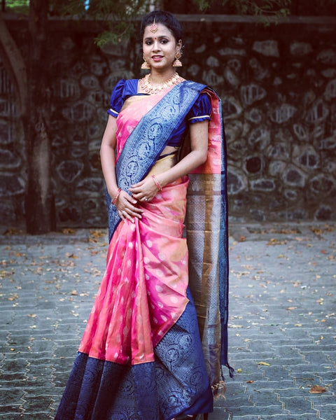 Pink Tissuekanchi Silk Cotton Saree with Blue Pallu & Korvai Zari big Border KMS205 - Parijat Collections