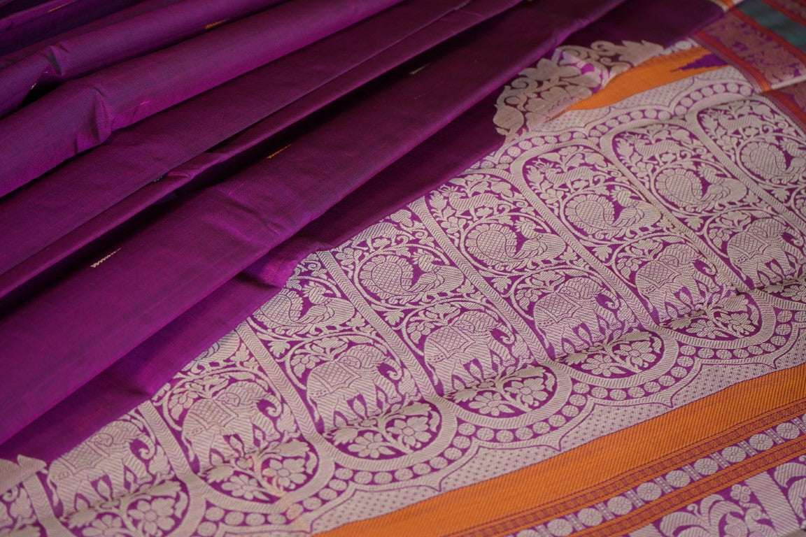 Purple Handloom Silk Cotton Saree PC1038