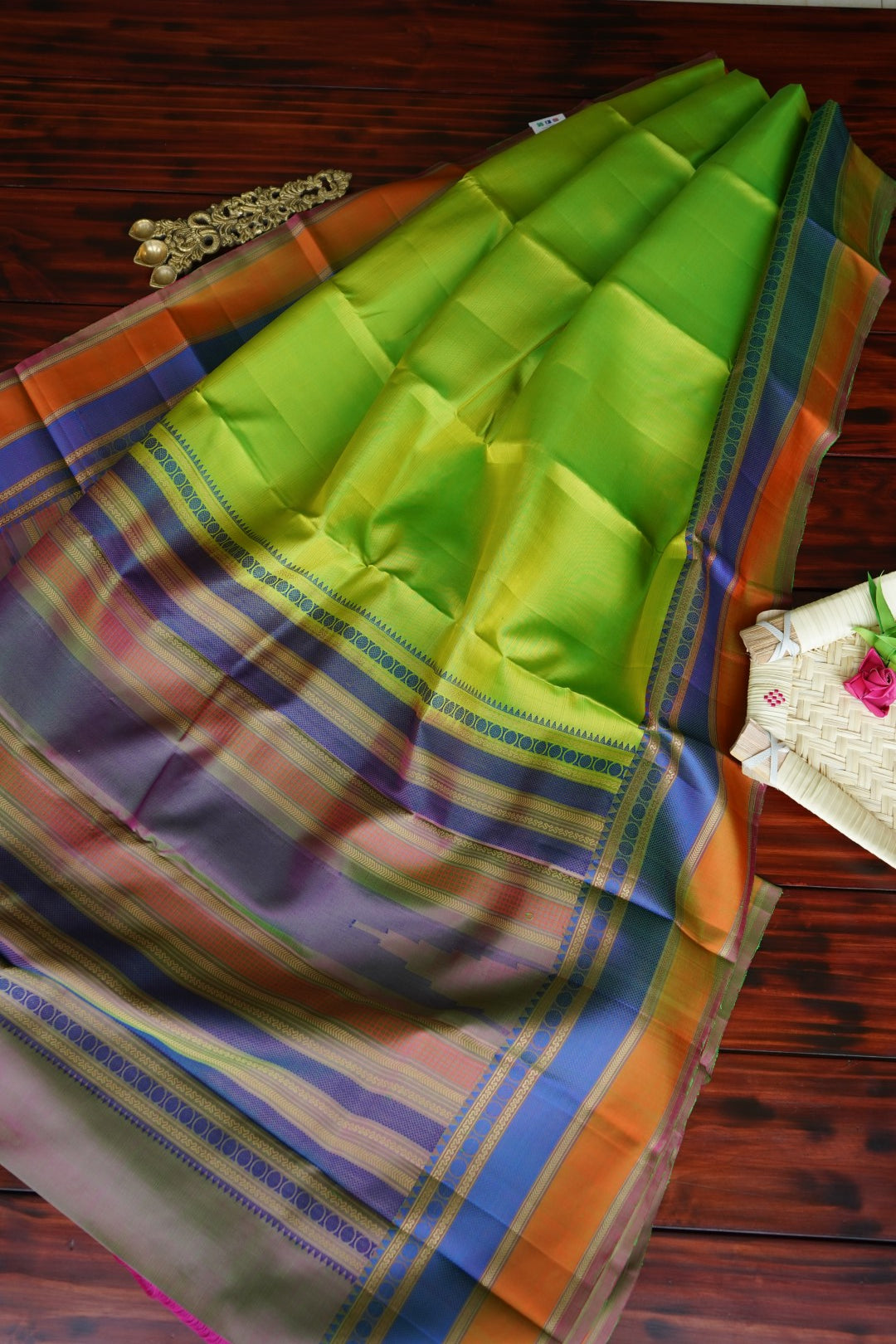 Leaf Green Silk Thread work Silk Saree PC1028