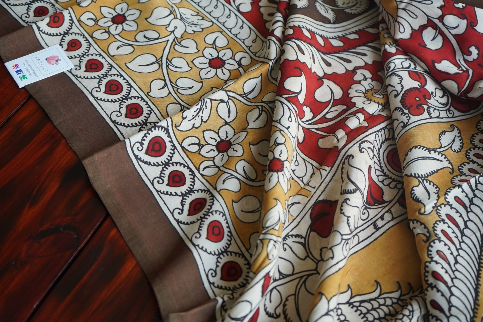 Kalamkari Chennuri Silk Saree with design Pallu PC044-Silk Cotton Sarees-Parijat Collections