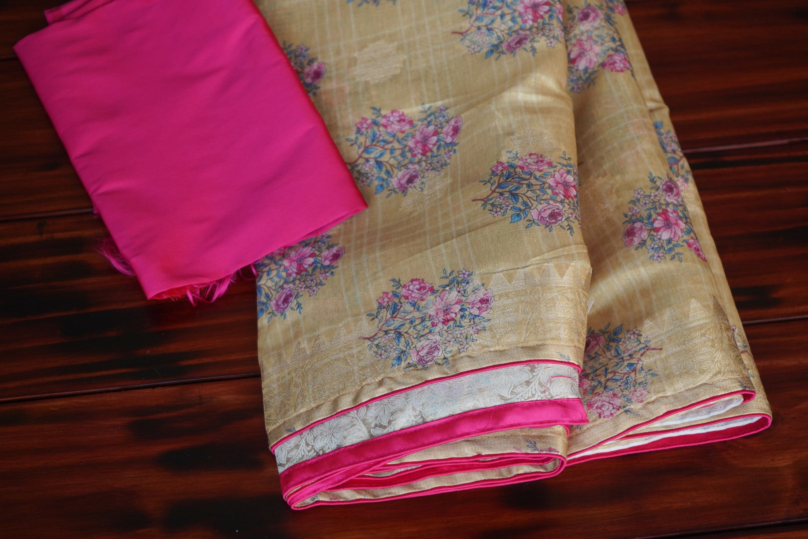 Chanderi floral silk cotton Saree with semi raw silk blouse