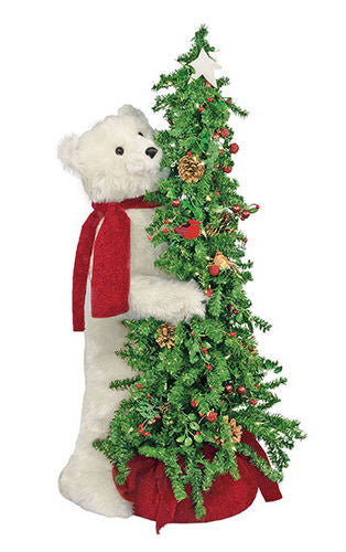 Berry Christmas Tree with Polar Bear Display 40""