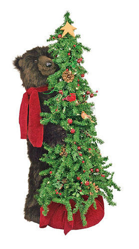 Berry Christmas Tree with Grizzly Bear Display 40""