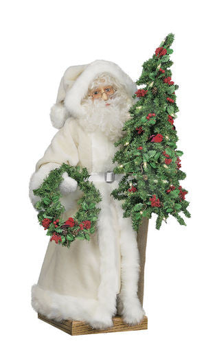 """Ivory Christmas"" Santa Father Christmas 29"" Display"