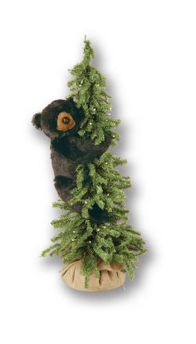 Pine Tree with Climbing Black Bear Display 40""