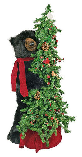 Berry Christmas Tree with Black Bear Display 40""