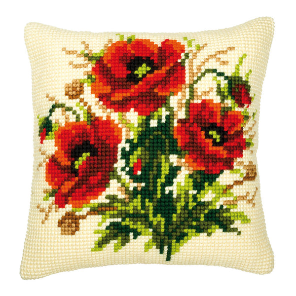 Mornng Poppies<br />Cross Stitch Cushion Kit