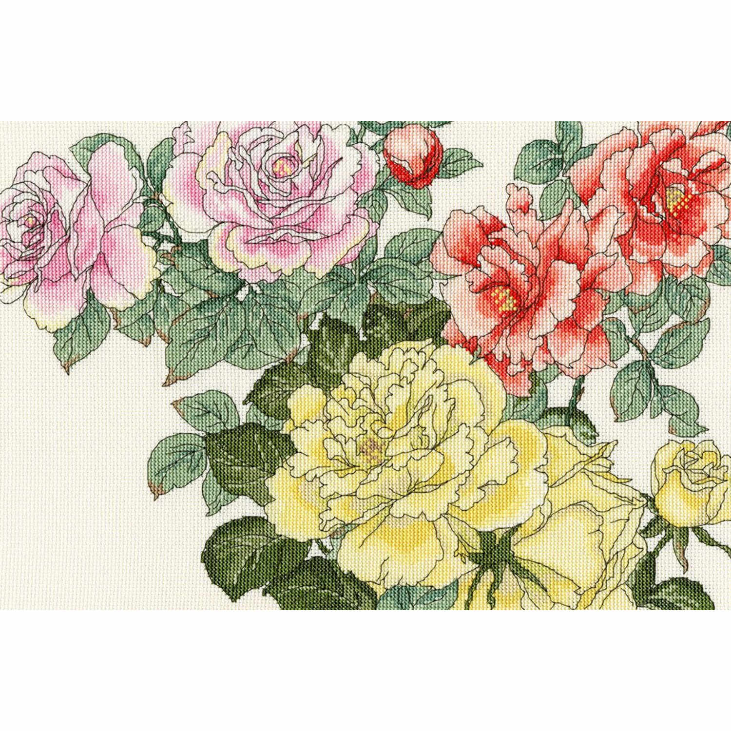 Japanese Woodblock: Roses <br />Counted Cross Stitch Kit