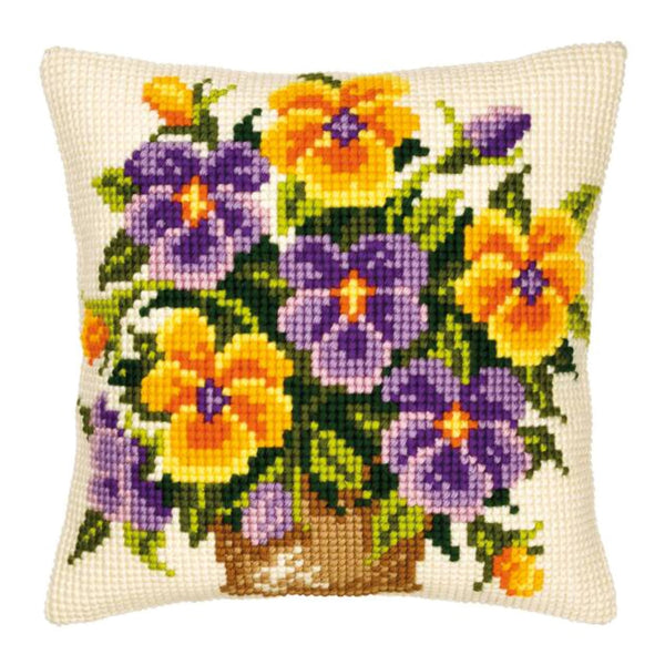 Bowl of Pansies <br />Cross Stitch Cushion Kit