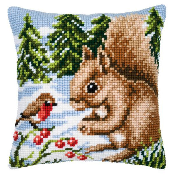 Squirrel and Robin <br />Cross Stitch Cushion Kit