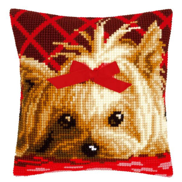 Yorkie with Bow <br />Cross Stitch Cushion Kit