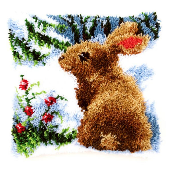 Rabbit in the Snow <br />Latch Hook Cushion Kit