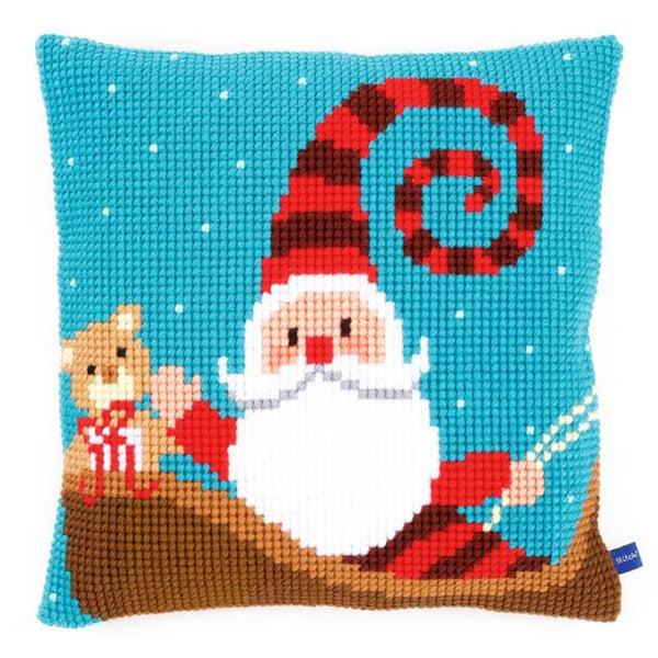 Santa on Blue <br />Cross Stitch Cushion Kit