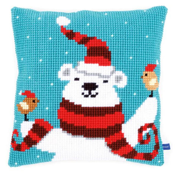 Polar Bear on Blue <br />Cross Stitch Cushion Kit