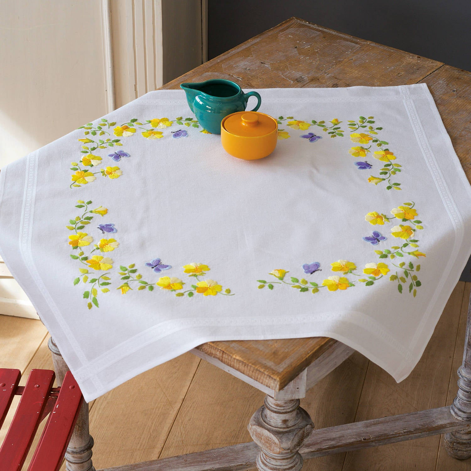 Yellow Violas Tablecloth <br />Embroidery Kit