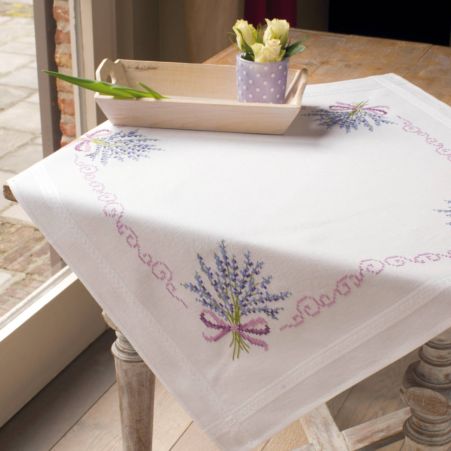 Lavender Bouquet Tablecloth <br />Embroidery Kit