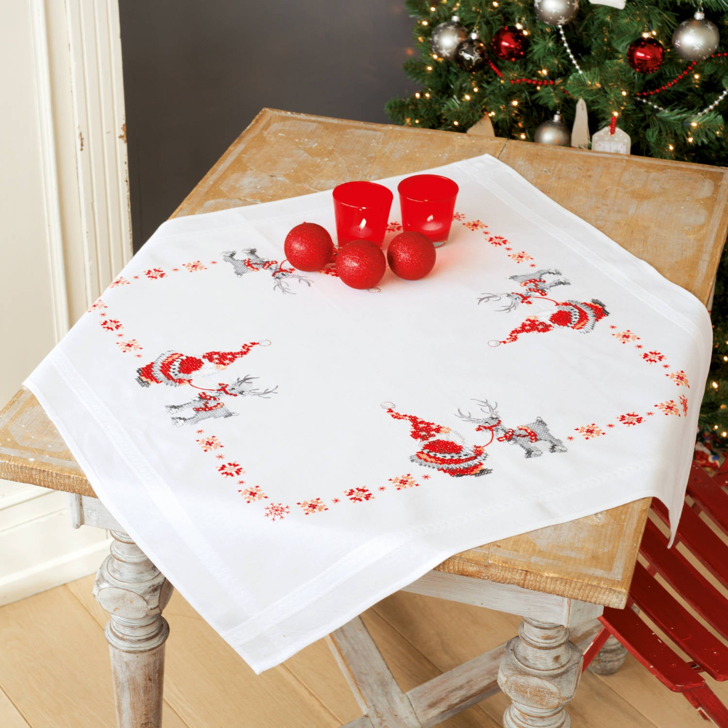 Christmas Elves Tablecloth <br />Embroidery Kit