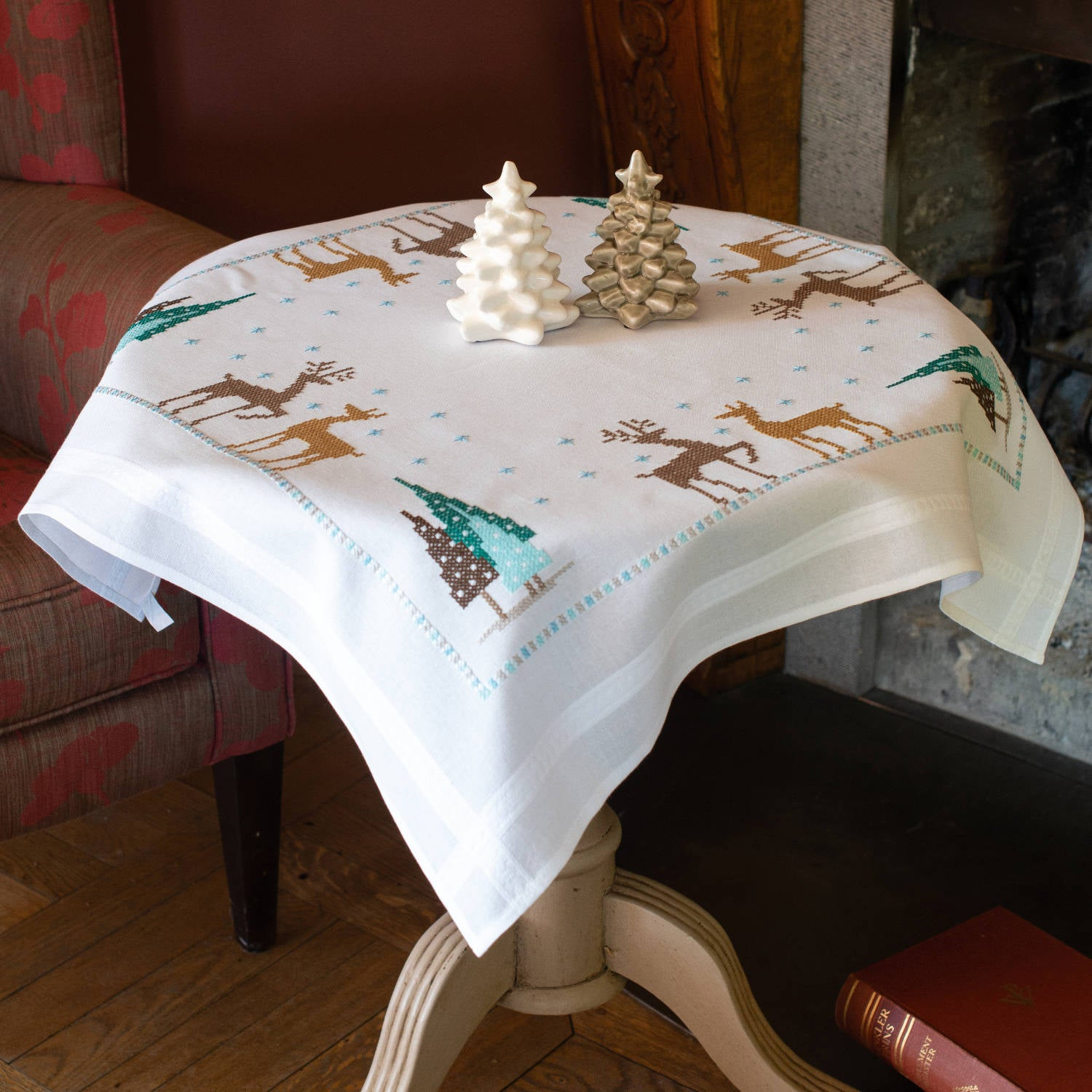 Reindeer & Christmas Trees Tablecloth <br />Embroidery Kit