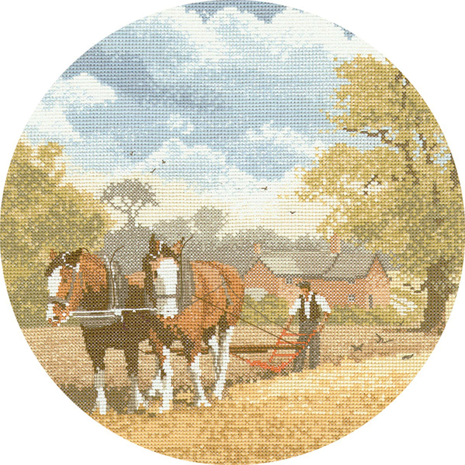 John Clayton Counted Cross Stitch<br /> Teamwork Horse and Plough