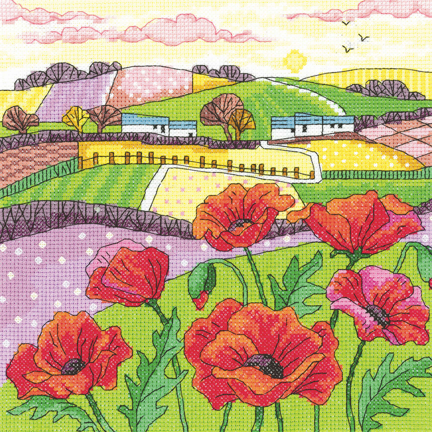 Poppy Landscape <br />Counted Cross Stitch Kit