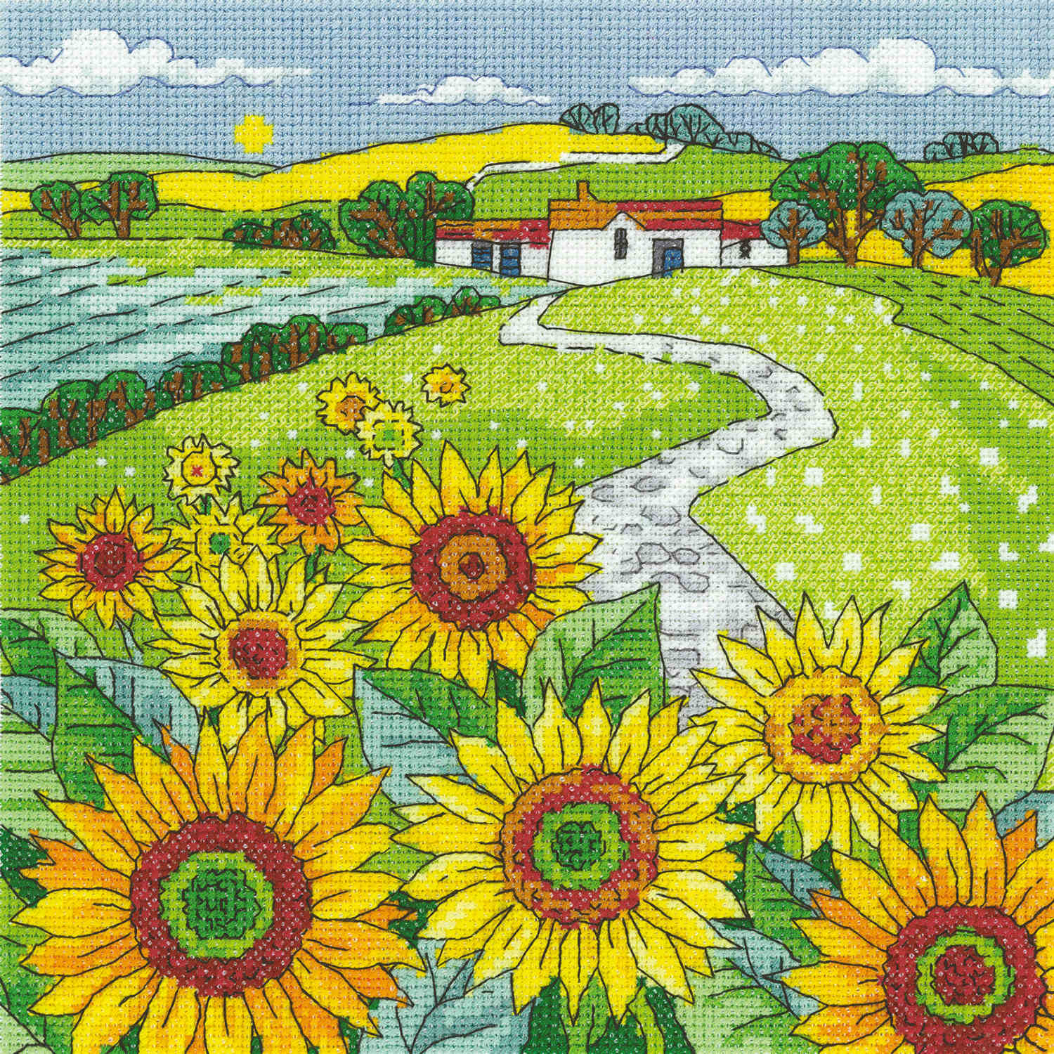 Sunflower Landscape <br />Counted Cross Stitch Kit