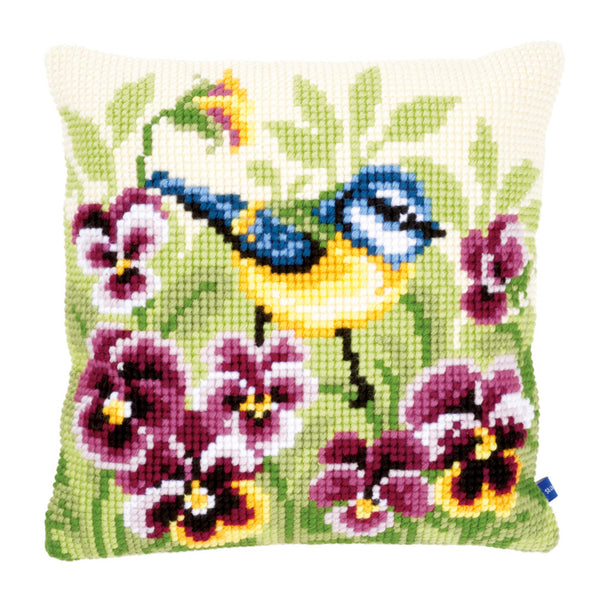 Blue Tit on Pansies<br />Cross Stitch Cushion Front Kit
