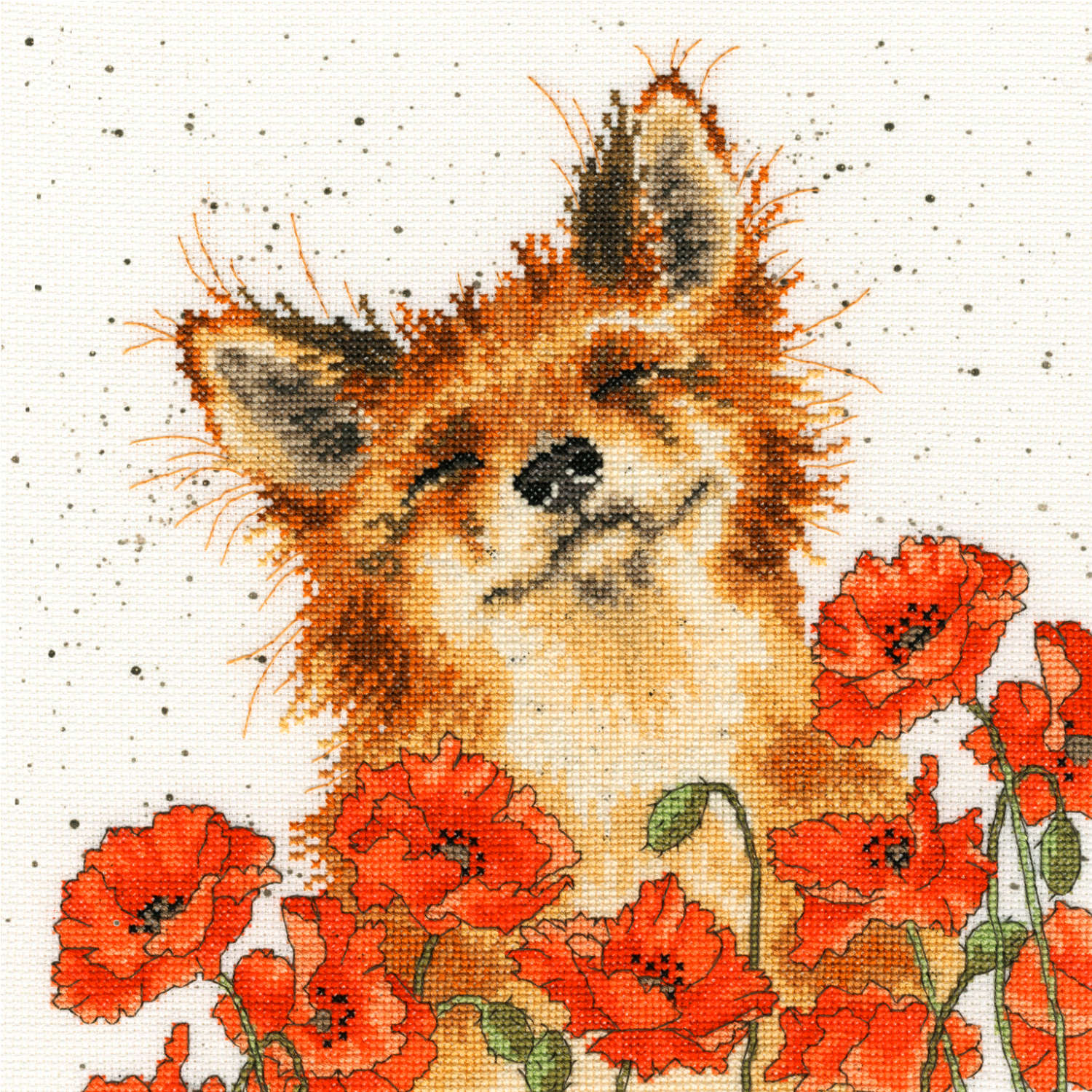 Fox in Poppies<br />Counted Cross-Stitch Kit