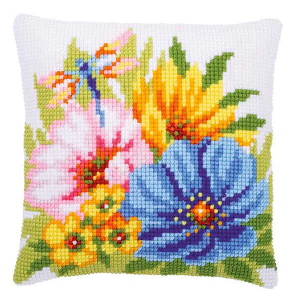 Dragonfly and Flowers <br />Cross Stitch Cushion Kit