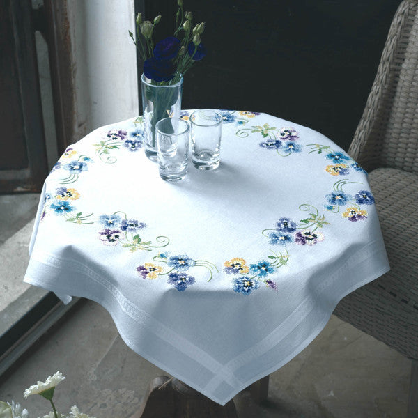 Pansies Tablecloth Embroidery Kit