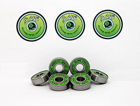 8 x GREEN SLIME - ABEC 11 608 RS Skate Bearings - HIKS