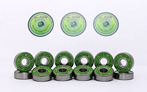 16 x GREEN SLIME - ABEC 11 608 RS Skate Bearings - HIKS
