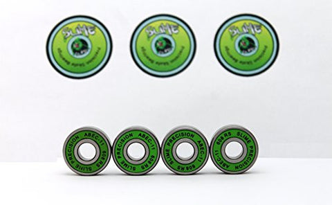 4 x GREEN SLIME - ABEC 11 608 RS Skate Bearings - HIKS