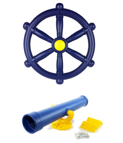 Kids Climbing Frame Pirate Accessory Bundle Telescope & Pirate Wheel - HIKS