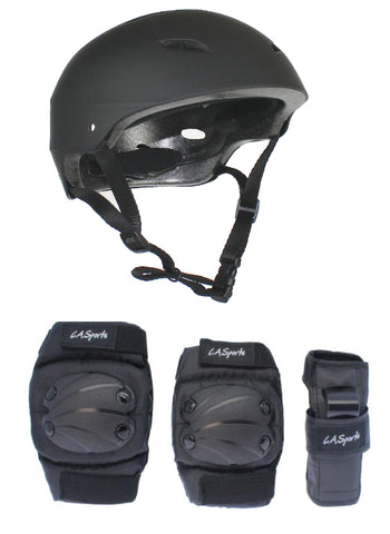 LA Sports Black Pro Skate Helmet & 6 Piece Pad Set - Junior