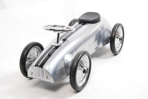 Silver Metal Ride on Racer - HIKS