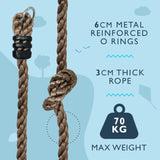 Knotted Climbing Rope 3 Knots for Kids Climbing Frames and Tree Houses - HIKS