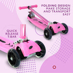 LA Sports 3 Wheel Tri Scooter for Kids Childrens Boys & Girls with Flashing LED Wheels - Pink - HIKS