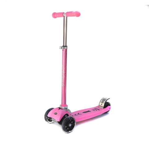 LA SPORTS MAXKICK PINK 4 WHEEL FOLDING TRI SCOOTER WITH FREE LED LIGHT UP WHEELS SUITABLE USER WEIGHT: 20KG - 80KG - HIKS