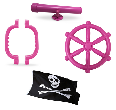 Toy Climbing Frame Accessories Bundle - 30cm Pirate Wheel, Telescope & Handles - Pink